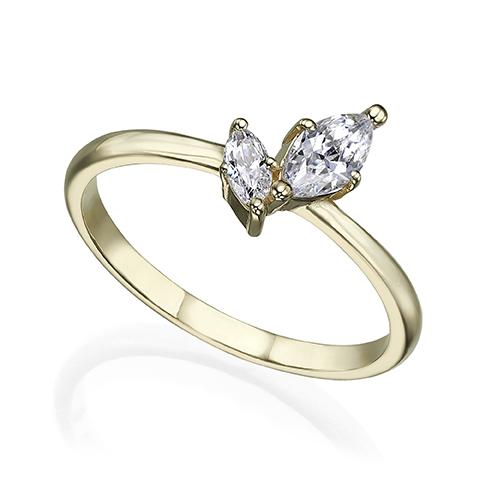 טבעת זהב מיוחדת משובצת יהלומים בחיתוך מרקיזה