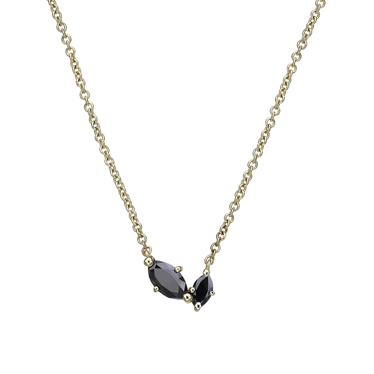 שרשרת זהב עדינה  בשיבוץ שני יהלומים שחורים בחיתוך מרקיזה בגדלים שונים