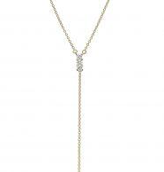 שרשרת זהב משובצת 3 יהלומים ושרשרת זהב מתנדנדת
