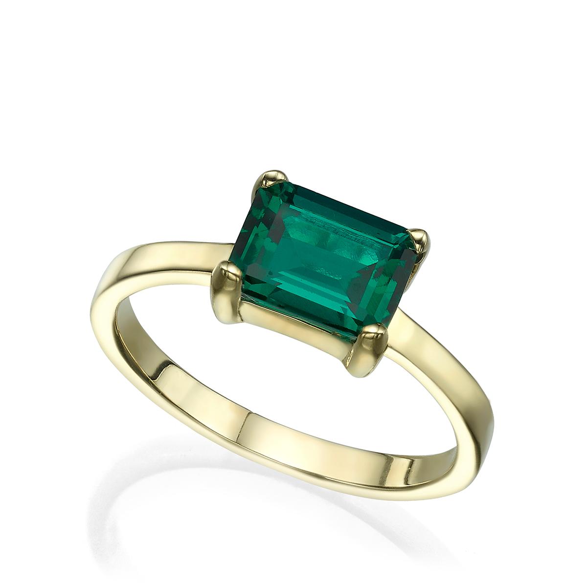 טבעת זהב משובצת אמרלד מעבדה בחיתוך מלבני
