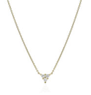 שרשרת זהב משובצת 3 יהלומים עגולים בצורת משולש