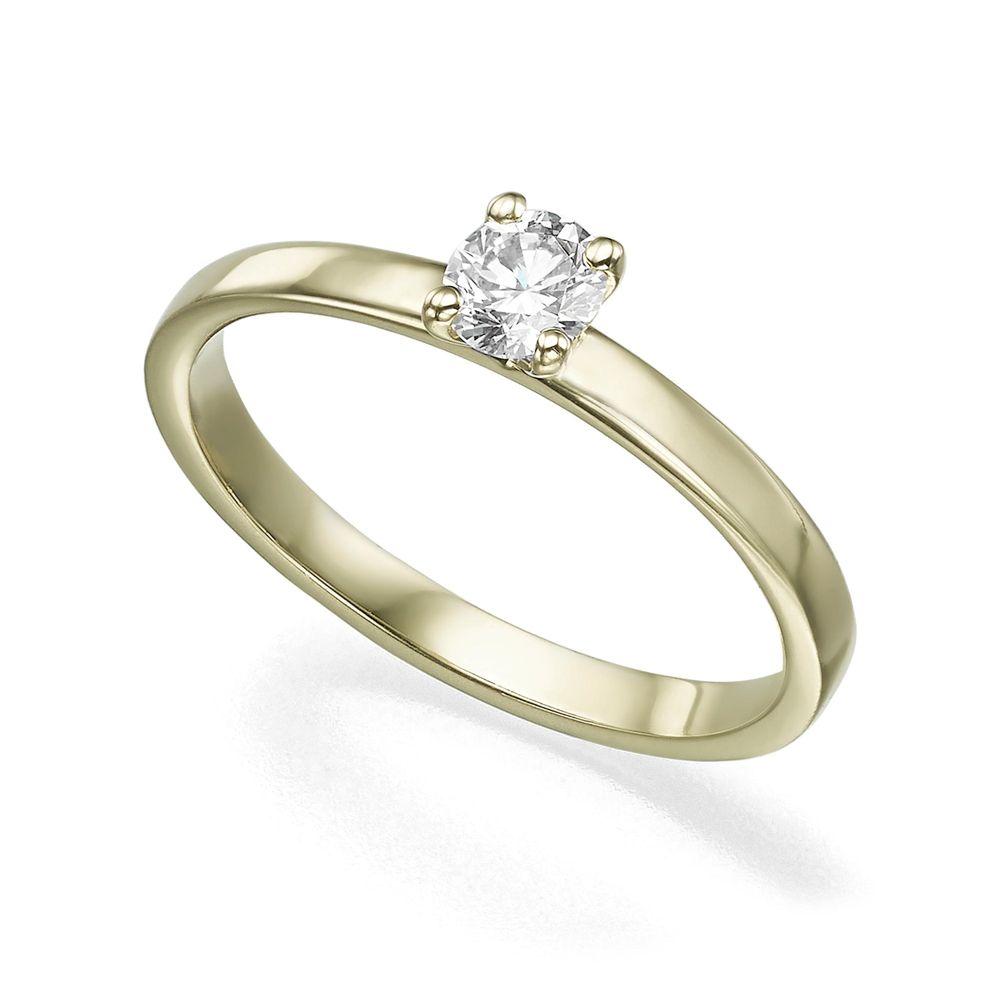טבעת סוליטר יהלום 20 נקודות פרופיל ישר