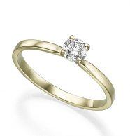 טבעת אירוסין סוליטר משובצת יהלום
