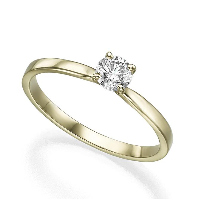 טבעת סוליטר יהלום 40 נקודות פרופיל ישר ומתדקק מתחת ליהלום