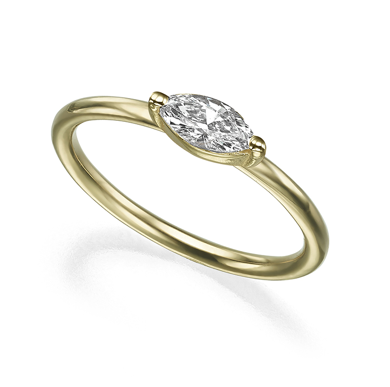 טבעת יהלום מרקיזה אופקי