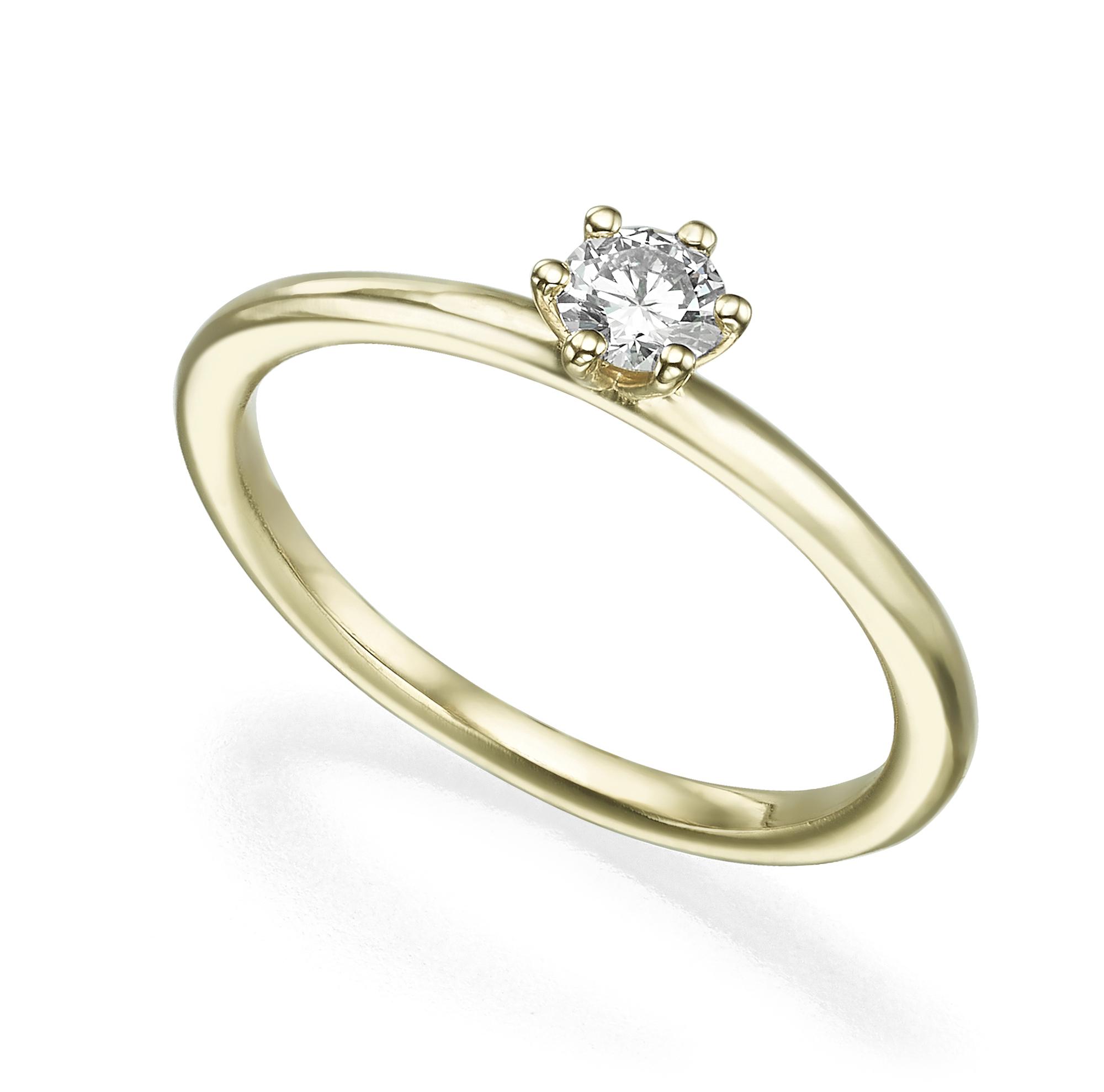 טבעת סוליטר יהלום 20 נקודות פרופיל עגול