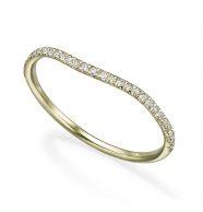טבעת זהב עם גל עדין משובצת יהלומים