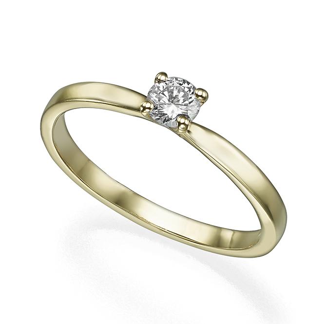 טבעת סוליטר יהלום 20 נקודות פרופיל ישר ומתדקק מתחת ליהלום