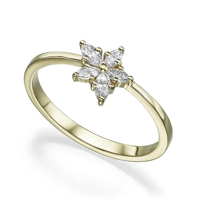 טבעת זהב בצורת פרח משובצת יהלומים בחיתוך מרקיזה
