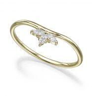 טבעת זהב משובצת 3 יהלומים