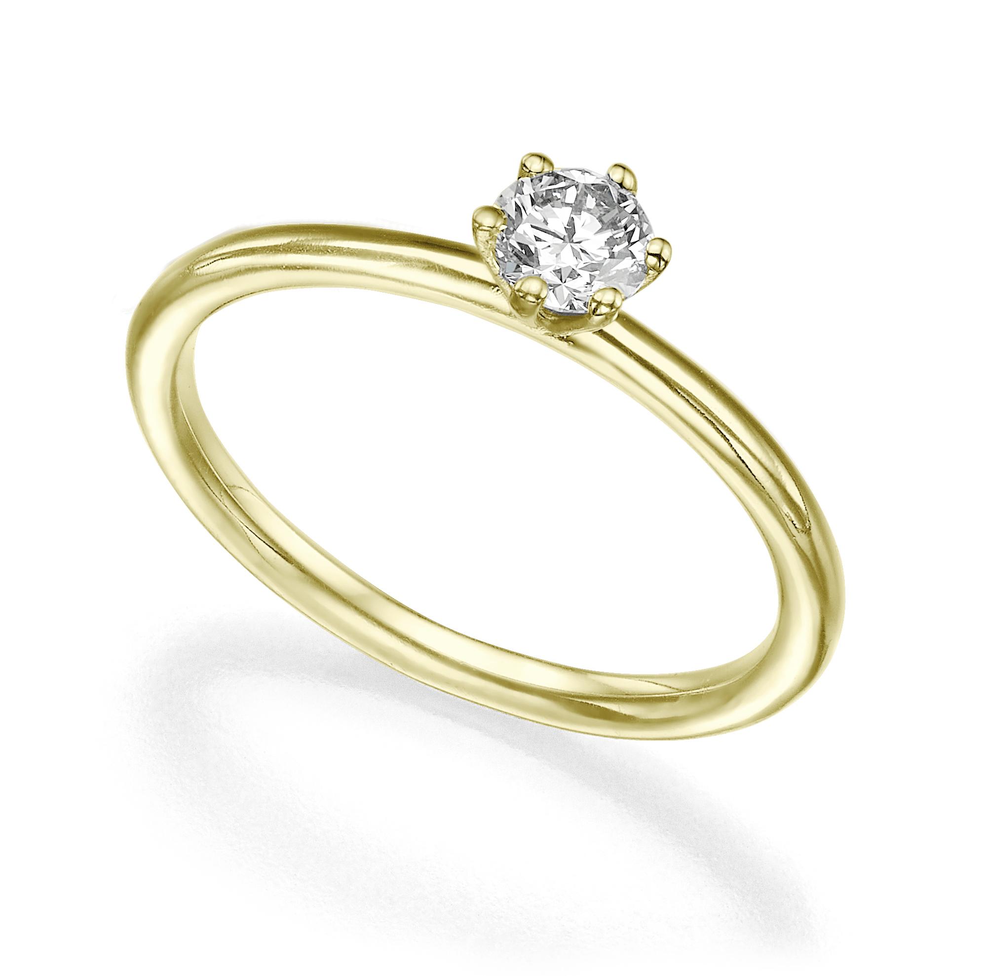 טבעת סוליטר יהלום 40 נקודות פרופיל עגול
