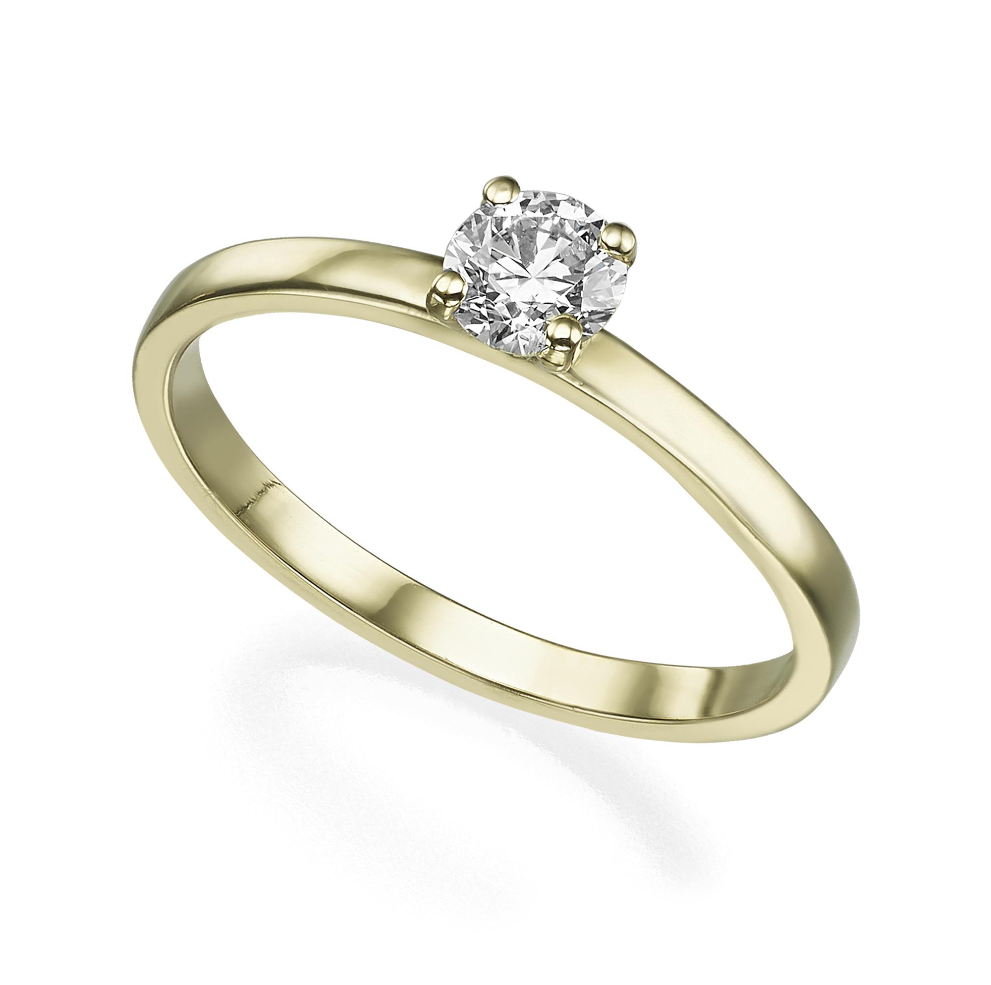 טבעת סוליטר יהלום 40 נקודות פרופיל ישר