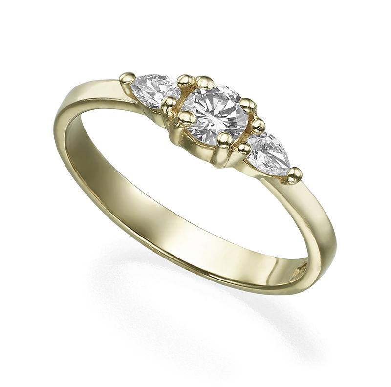 טבעת אירוסין יהלום עגול ושתי טיפות